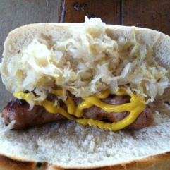 Oh yeah! There you go! A loaded brat! Grab a beer, some potato salad, and enjoy!