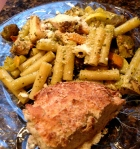 Dinner!  Pasta and veggies with pesto, and crusty bread! Yummy and easy!