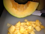 Chop up some melons.  About a cup of each should do!