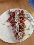 Roasted veggie and quinoa, sliced grilled tuna, and some wasabi! Rolled up, this made a perfect wrap to transport and eat on the run!