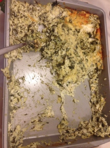 Leftover spinach kale artichoke cheese dip!  Yummier the second day!