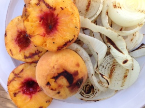 The peaches and onions grilled up beautifully!