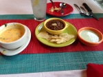 Sauces, or salsas, placed on our table at Pappasitos.  YUM!!
