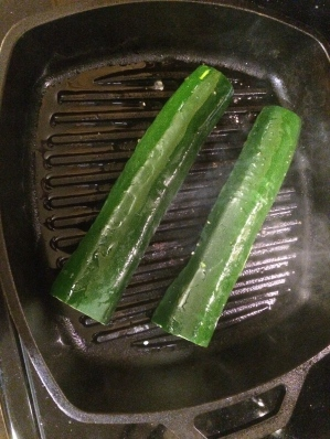Grilled zucchini in my (very inexpensive) cast iron grill pan.  It was sizzling and searing.  Yum!