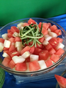 Watermelon Cucumber Salad.  Delicious and refreshing.  Oh..and so pretty!