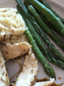 Dinner in a snap.  Grilled chicken, angel hair pasta with cheese pea sauce, and asparagus.  YUM!