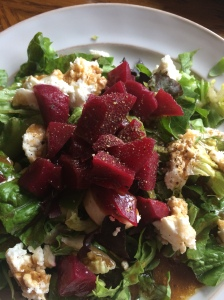 Delicious cold beets piled on a fresh summer salad! Yum!